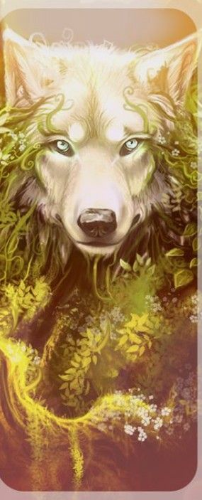 Golden Protector Beautiful Anime Wolf Art Animal Art