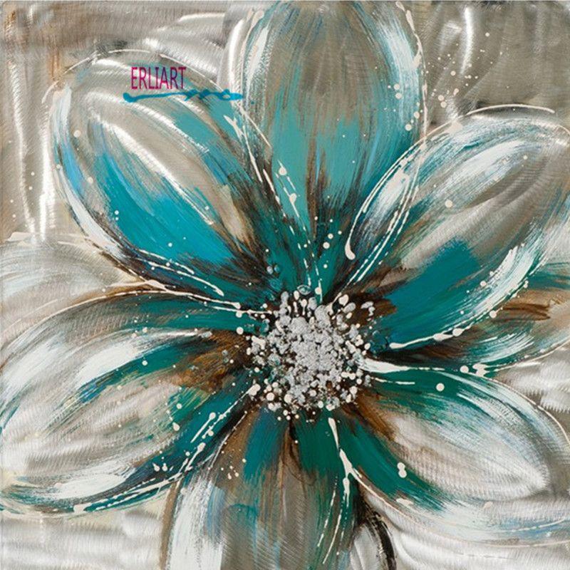 light colored flower oil painting frameless modern art on modern acrylic paintings for living room id=16903