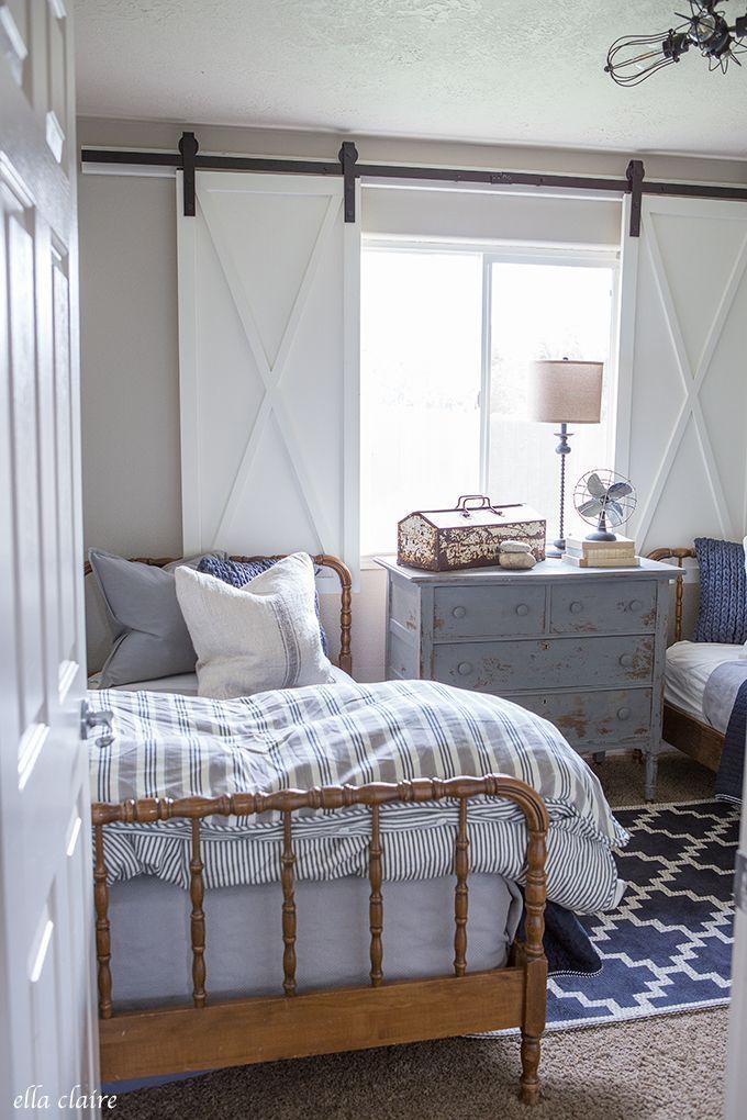 Navy And Ticking Boys Room Farmhouse Style Bedroom Decor