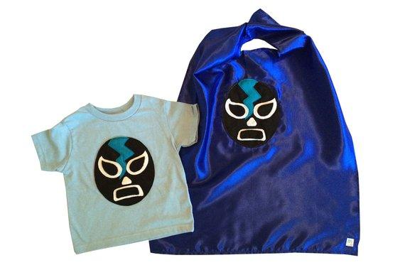 24fba57d5c762 Luchador Negro - Black Mexican Wrestler Kids T-Shirt & Blue Cape ...