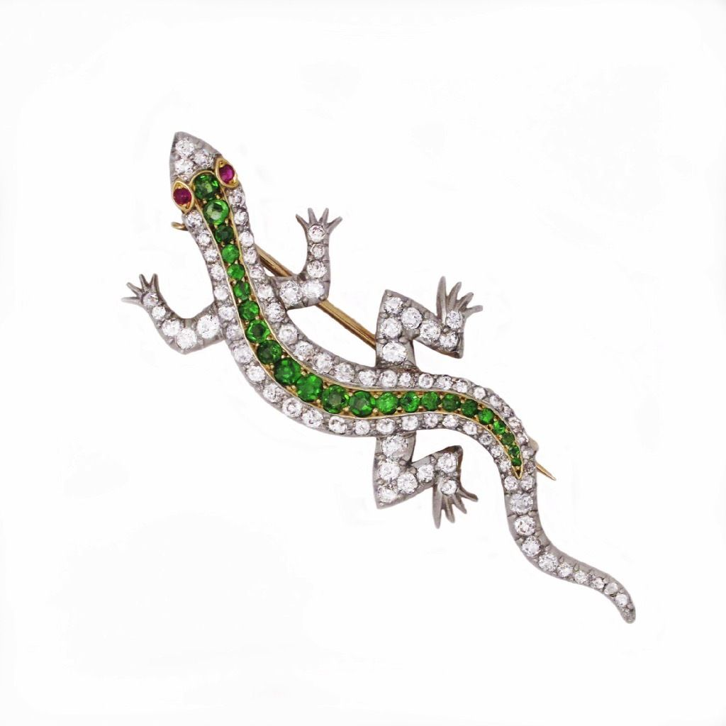 An American Edwardian Diamond and Demantoid Garnet Salamander Brooch, platinum over 18K gold.