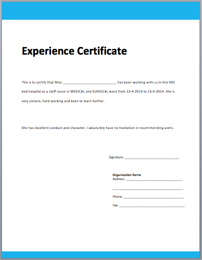 Image Result For Experience Certificate  Keys