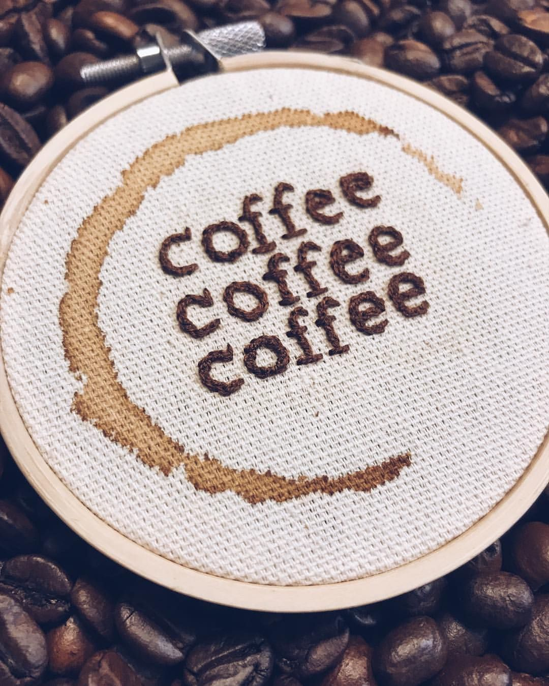 """Cate McCleery on Instagram: """"048/100 Coffee coffee coffee! And I mean 3 :) Gilmore girls inspired as suggested by @aylorbay . . . . . #100daysof3inchstitches…"""""""