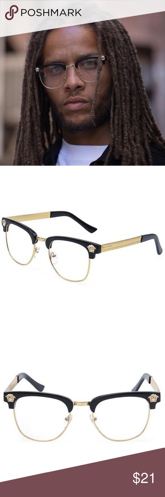 cbd4da1e7194 Gold Frame Clear Medusa Glasses Gold Frame Clear Medusa Glasses Acetate Frame  Gold Accents and Arms