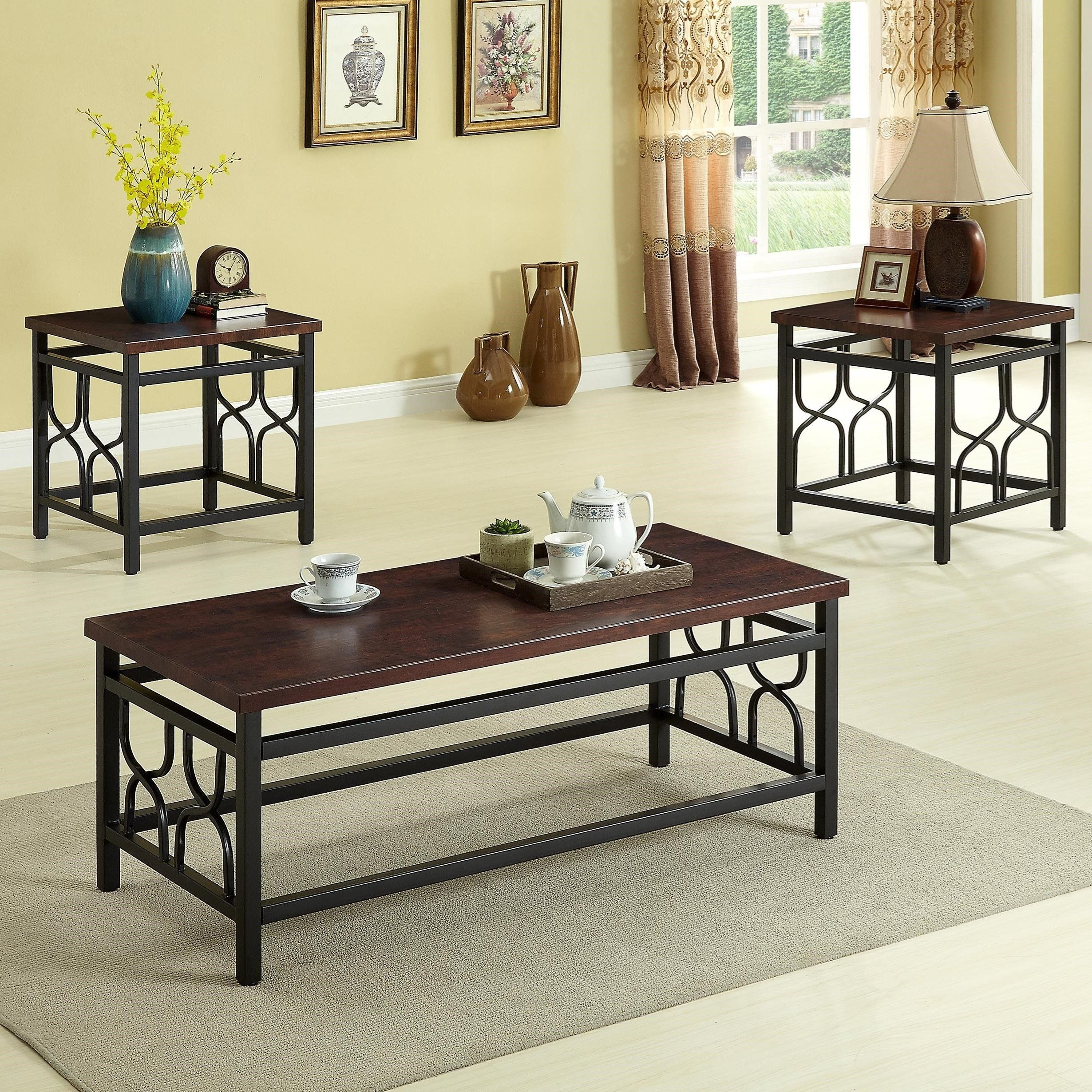 Benjamin 3 pc occasional set cherry wood coffee table