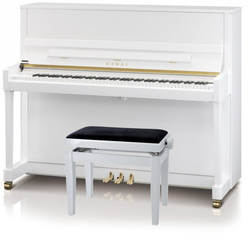 Kawai k300 upright piano white silver fittings from