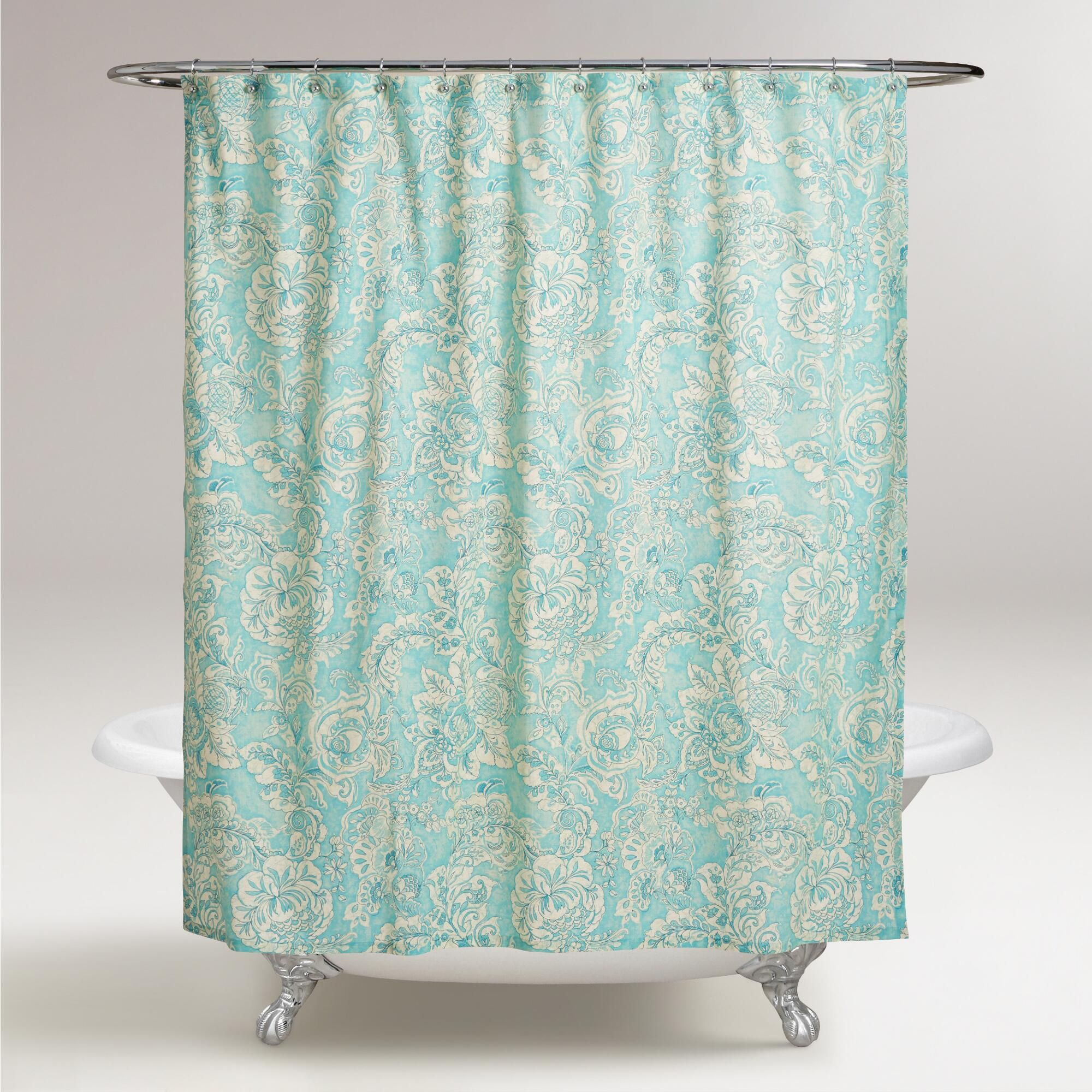 Aqua Floral Adelaide Shower Curtain