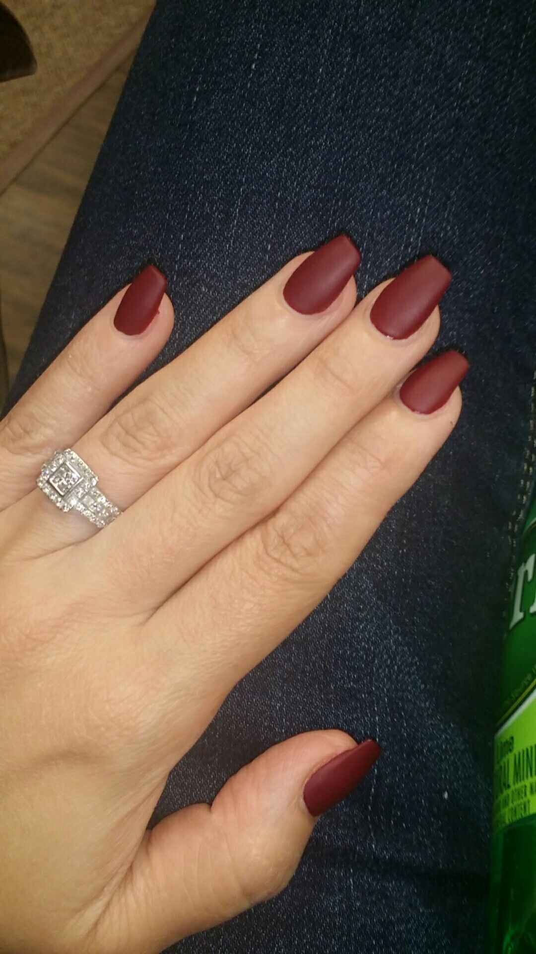 Lovely Coffin Nails In Matte Wine Color Fall Gel Nails Nail Colors Nails