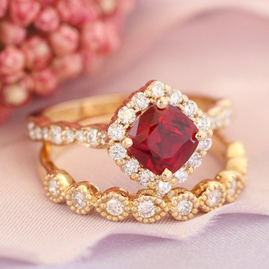 Luna Halo Bridal Set w/ Cushion Cut Ruby and Milgrain Diamond Ring ...