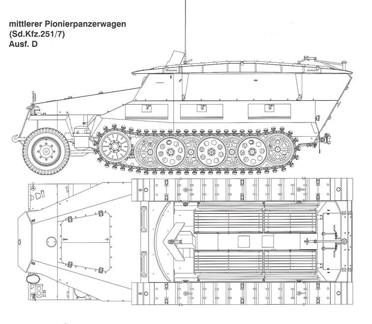 Sd.Kfz.251 Ausf.D (extrait croquis Panzer Tracts)