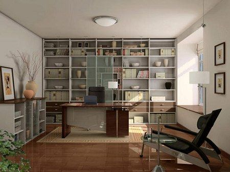 a modern study room with builtin shelves but should have very