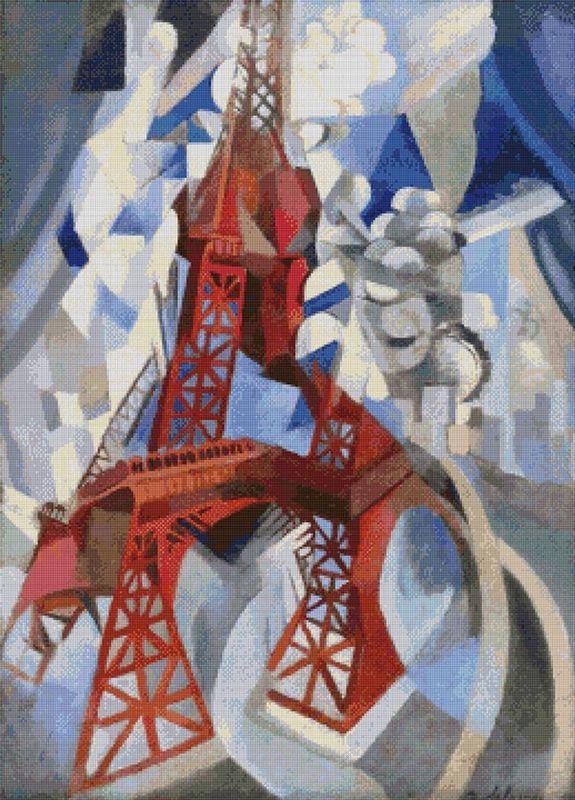 Eiffel Tower Cross Stitch Pattern | Robert Delaunay | Cubism ...