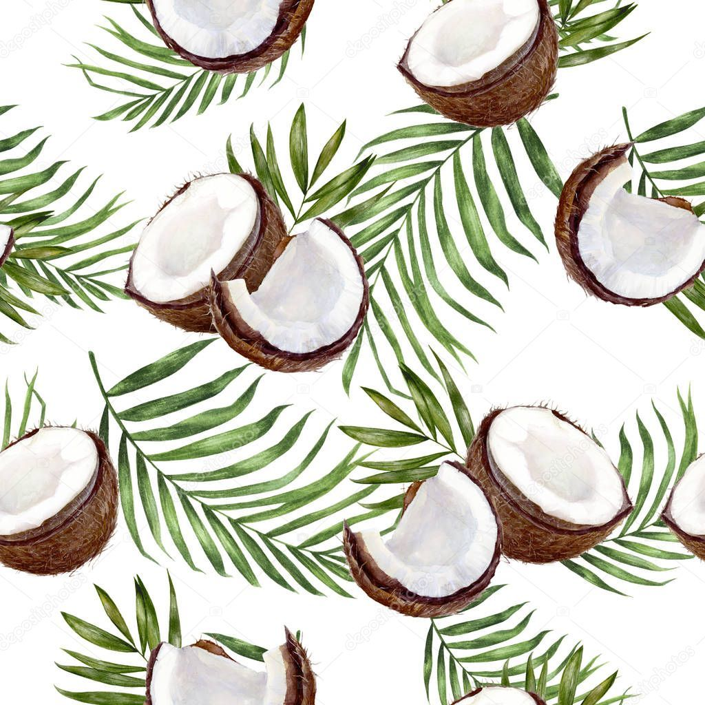 Coconut Hand Drawn Watercolor Illustration Seamless Pattern