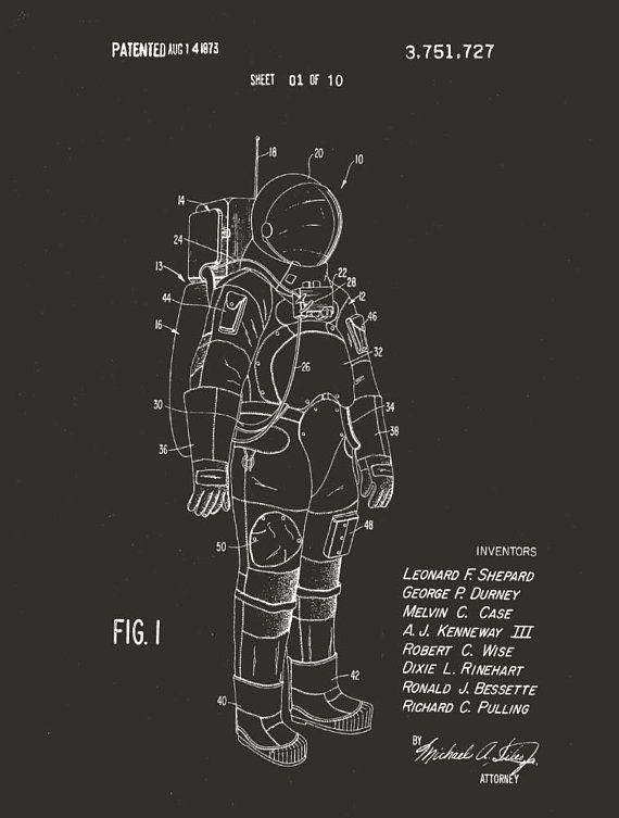 2c9cca09 Spacesuit patent. Apollo spacesuit. NASA. Spacesuit Poster. Apollo Poster. Patent  drawing. Astronau