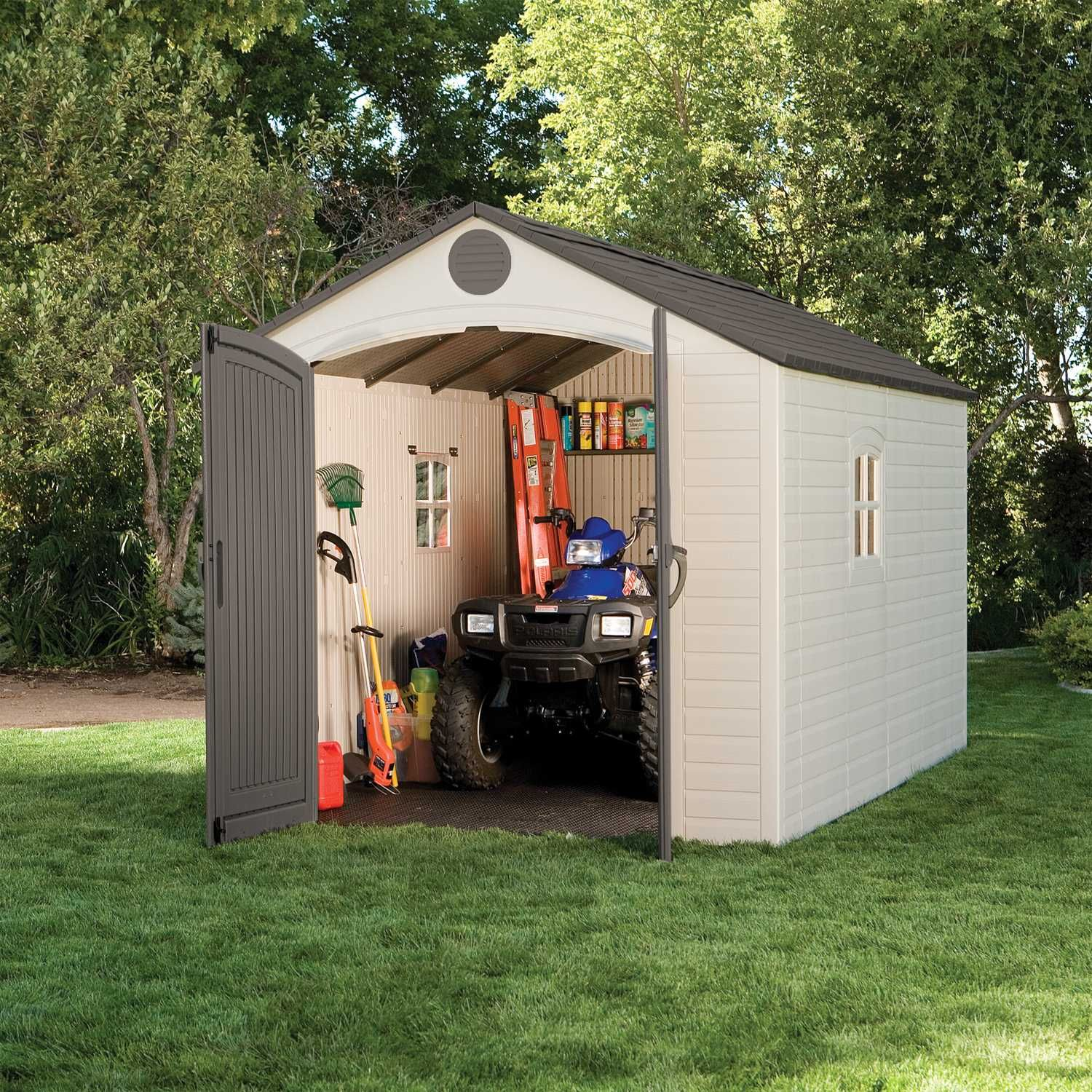 outdoor storage sheds shop with confidence deck boxes and more your lawn is no longer an obstacle course sears has large sheds for your backyard save
