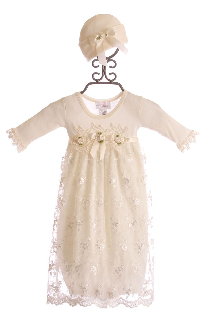 516824ebe679 Katie Rose Ivory Lace Infant Gown with Hat  110.00