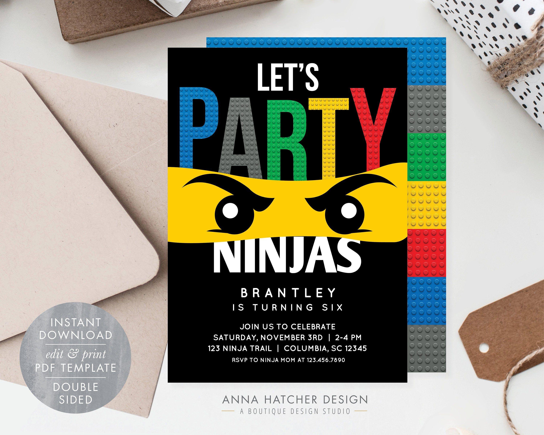 ninjago birthday party invitation