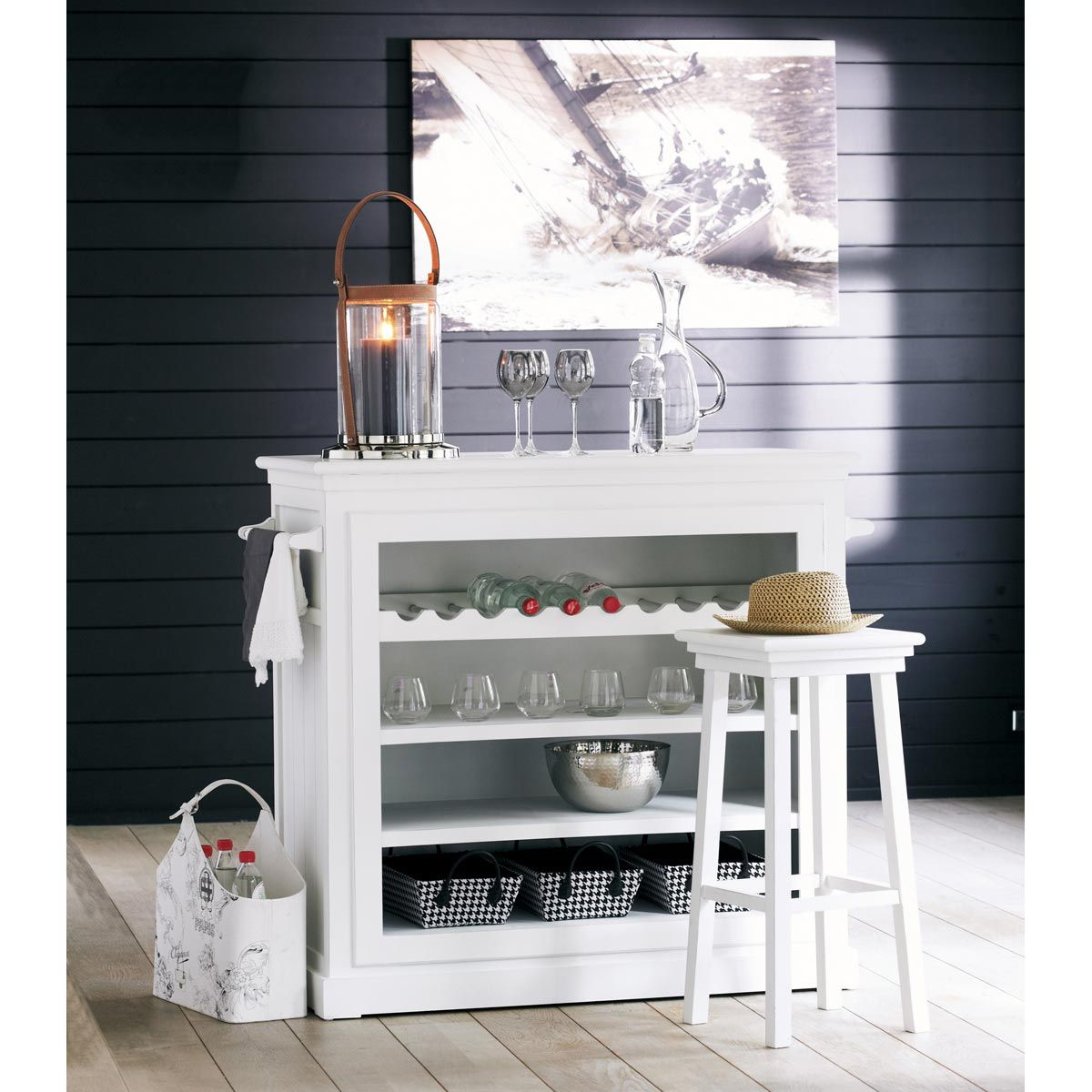 stunning tabouret de bar en bois blanc newport maisons du monde with maison du monde bureau newport. Black Bedroom Furniture Sets. Home Design Ideas
