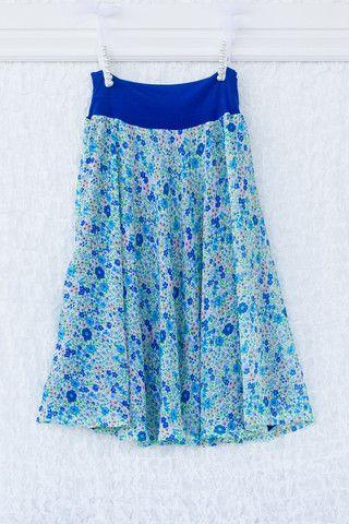 Ellary Skirt - Reversible (Blue Floral) – ModestPop.com