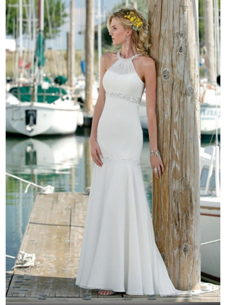 Beaded Chiffon Halter Trumpet Wedding Dress