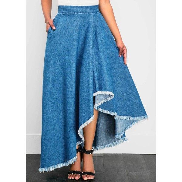 Blue Band Waist Asymmetric Hem Denim Skirt (120 ILS) ❤ liked on Polyvore  featuring