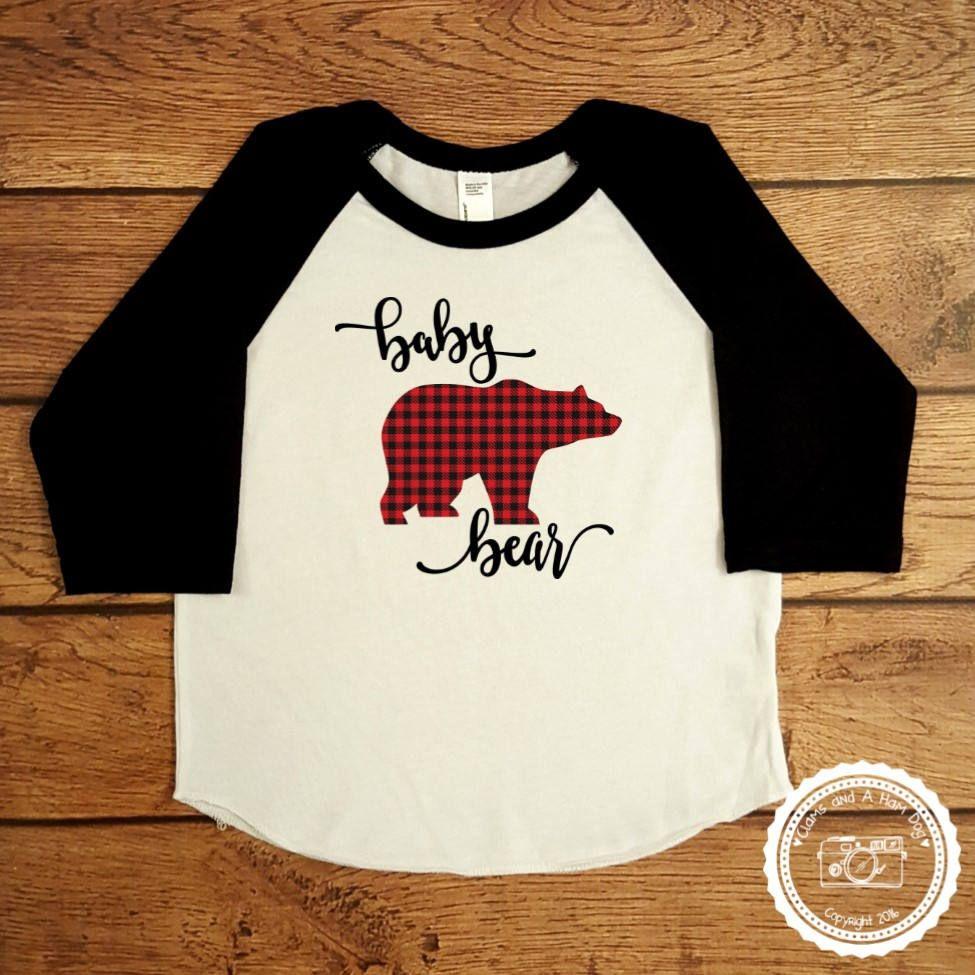 Buffalo Plaid Papa Bear Baseball Tee Shirt 2nW7oyzMeP