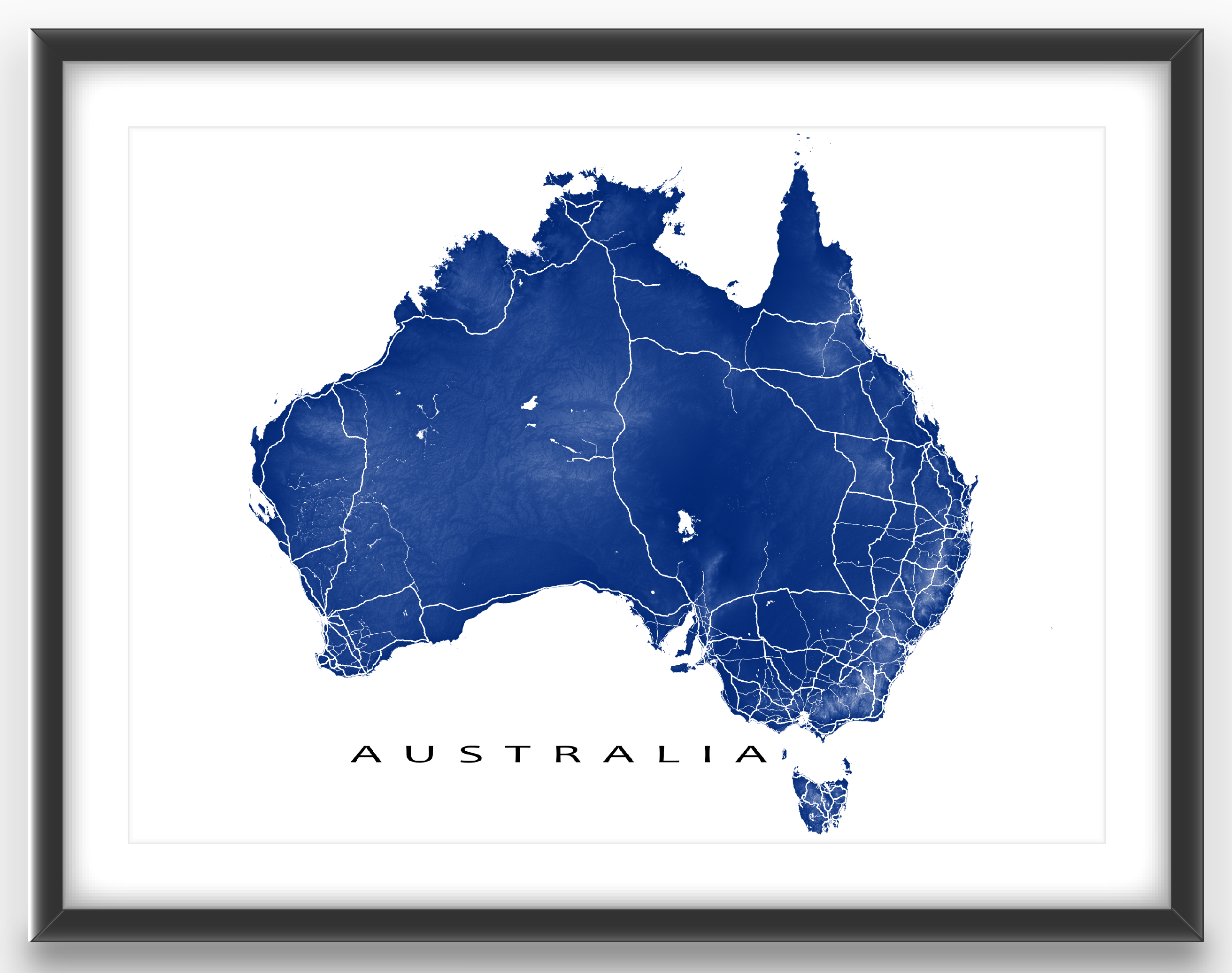 australia map print featuring the amazing country of australia and its fabulous landscape lighter areas