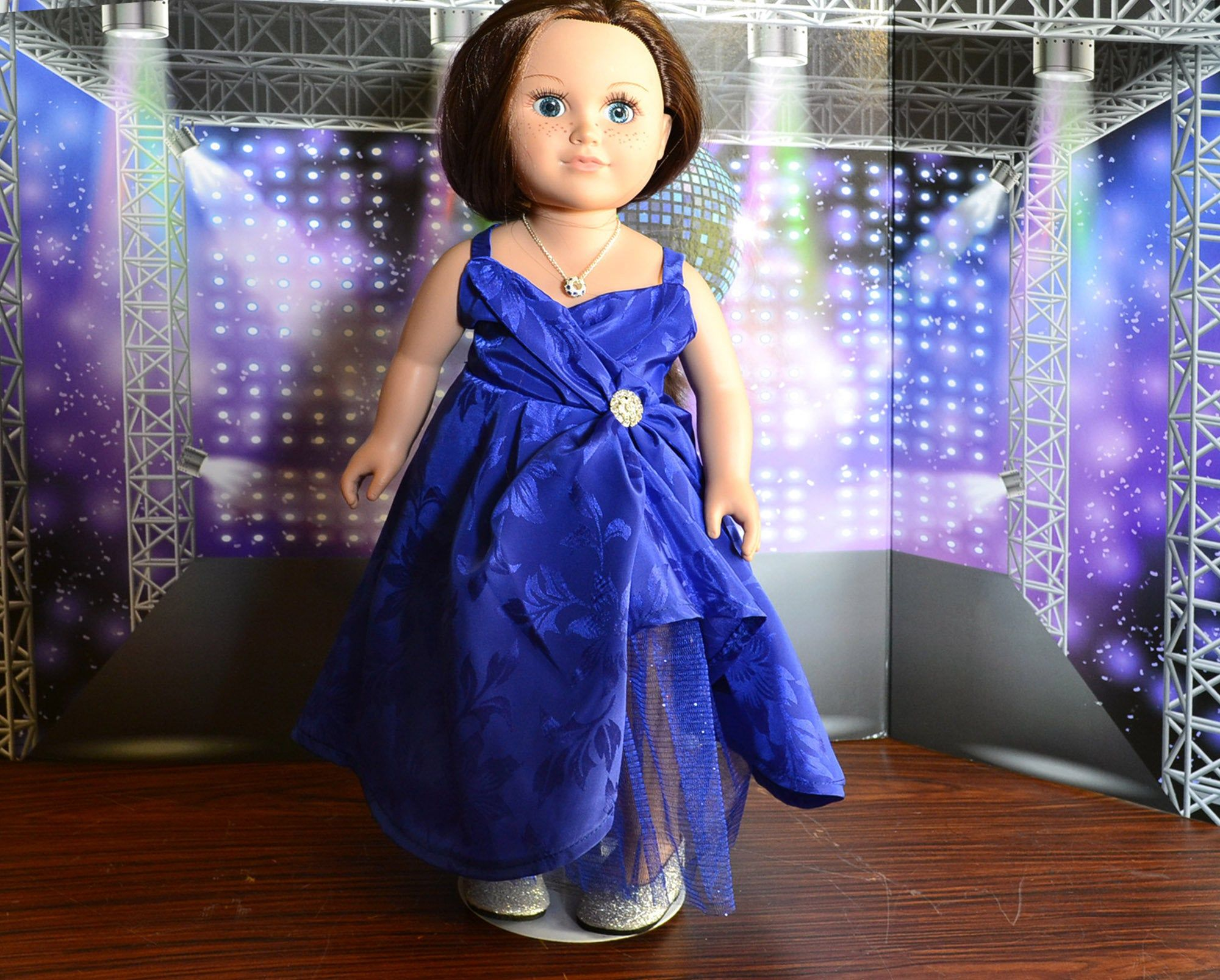 Royal Blue Princess Wonder Woman type dress 18 inch doll clothes, Prom dress fits American