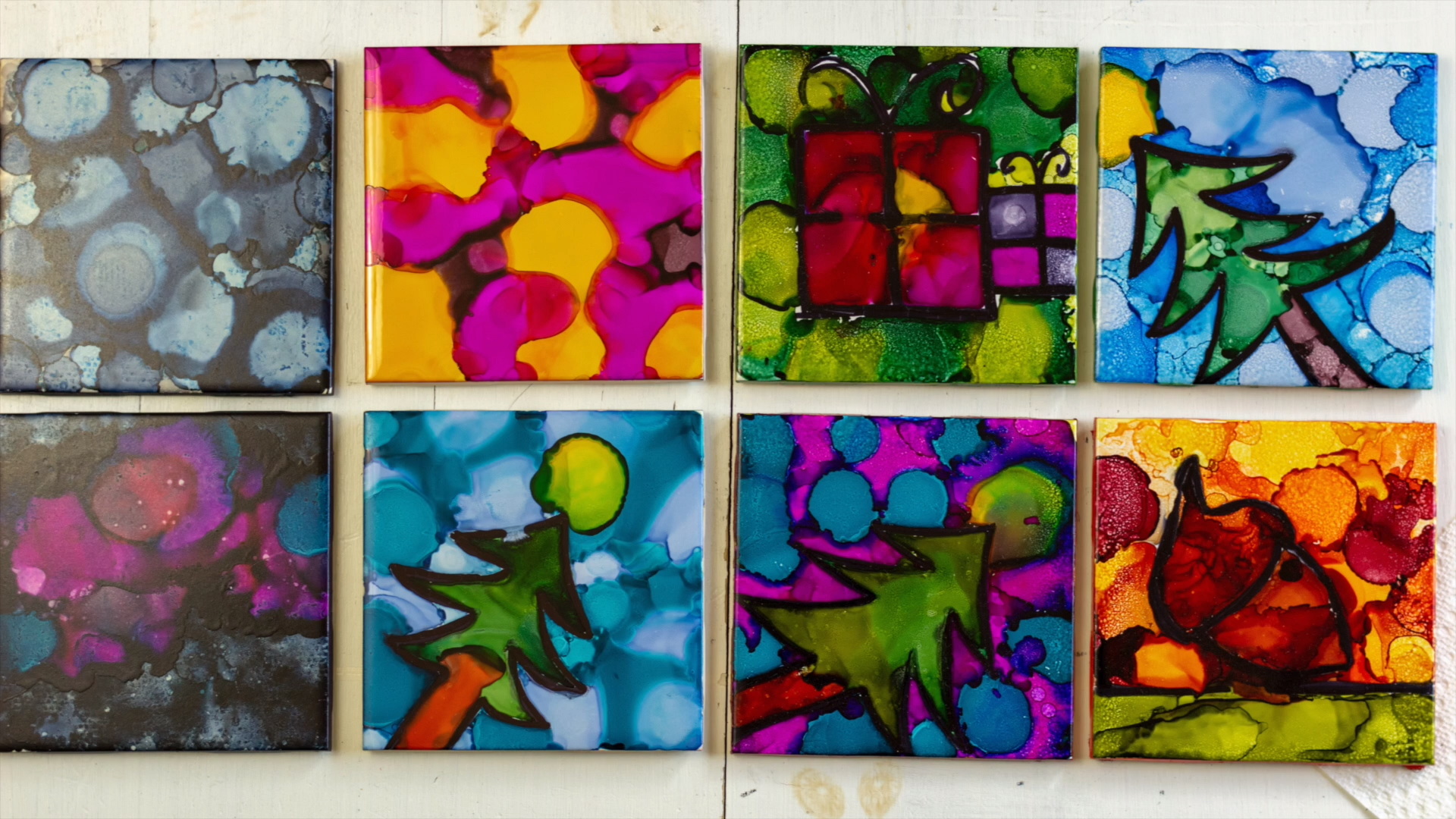 DIY Alcohol Ink Art Tiles #alcoholinkcrafts