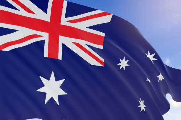 Rendering Of Australia Flag Waving On Blue Sky Background With Images Blue Sky Background Australia Flag