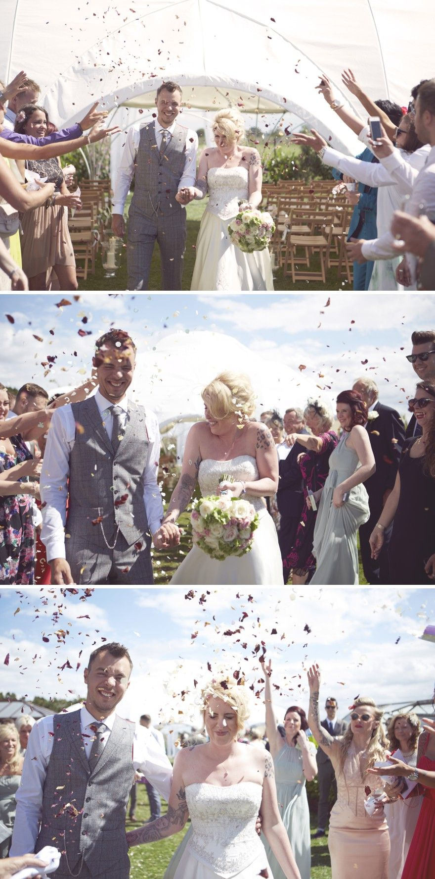 Pink And Grey Retro Alternative Quirky Wedding Photography Ideas Vintage Tattooed