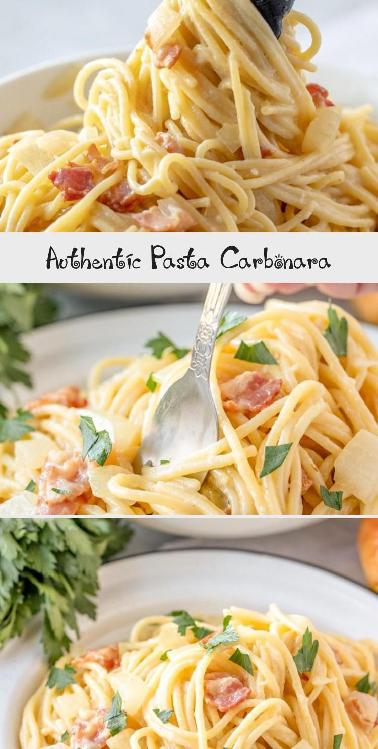 Authentic Pasta Carbonara recipe is a simple pasta dish in a cheesy egg sauce with lots of bacon and fresh ground black pepper. It's easy, yet elegant! #carbonara #pasta #dinner via @yellowblissroad #dinnerrecipesFor2 #Yummydinnerrecipes #dinnerrecipesGlutenFree #dinnerrecipesCasserole #Simpledinnerrecipes