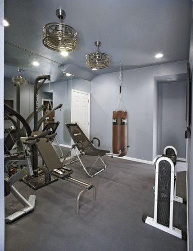 modern, industrial ceiling fan Gym Reno Pinterest Basement gym
