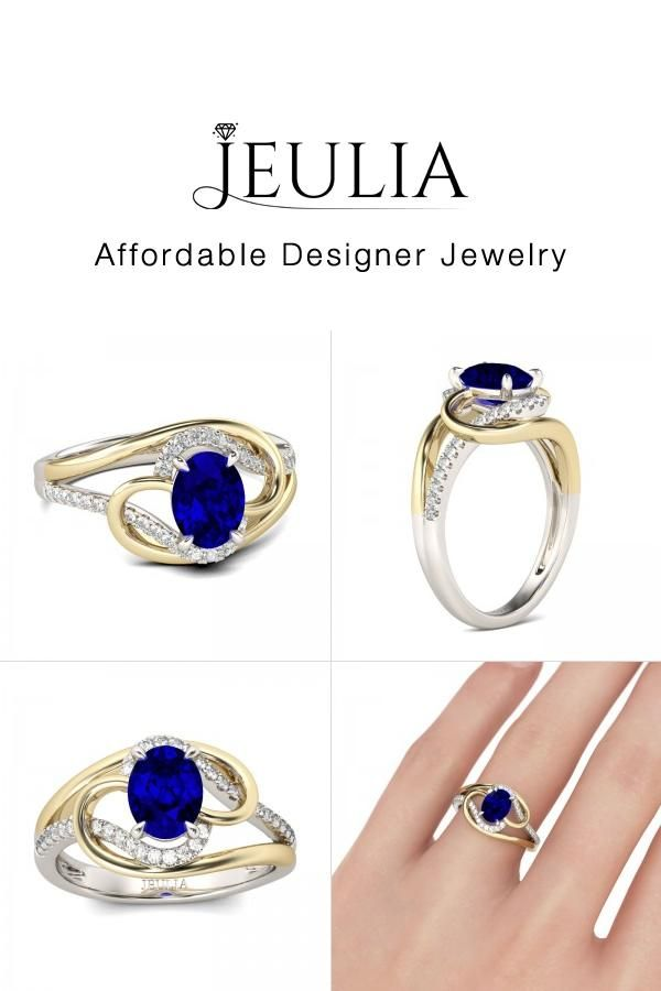 4f11a768b47f34 #Jeulia JEULIA Two Tone Engagement Ring Oval Cut Created Sapphire Sterli.  Discover more stunning Classic Rings from Jeulia.com. Shop Now!