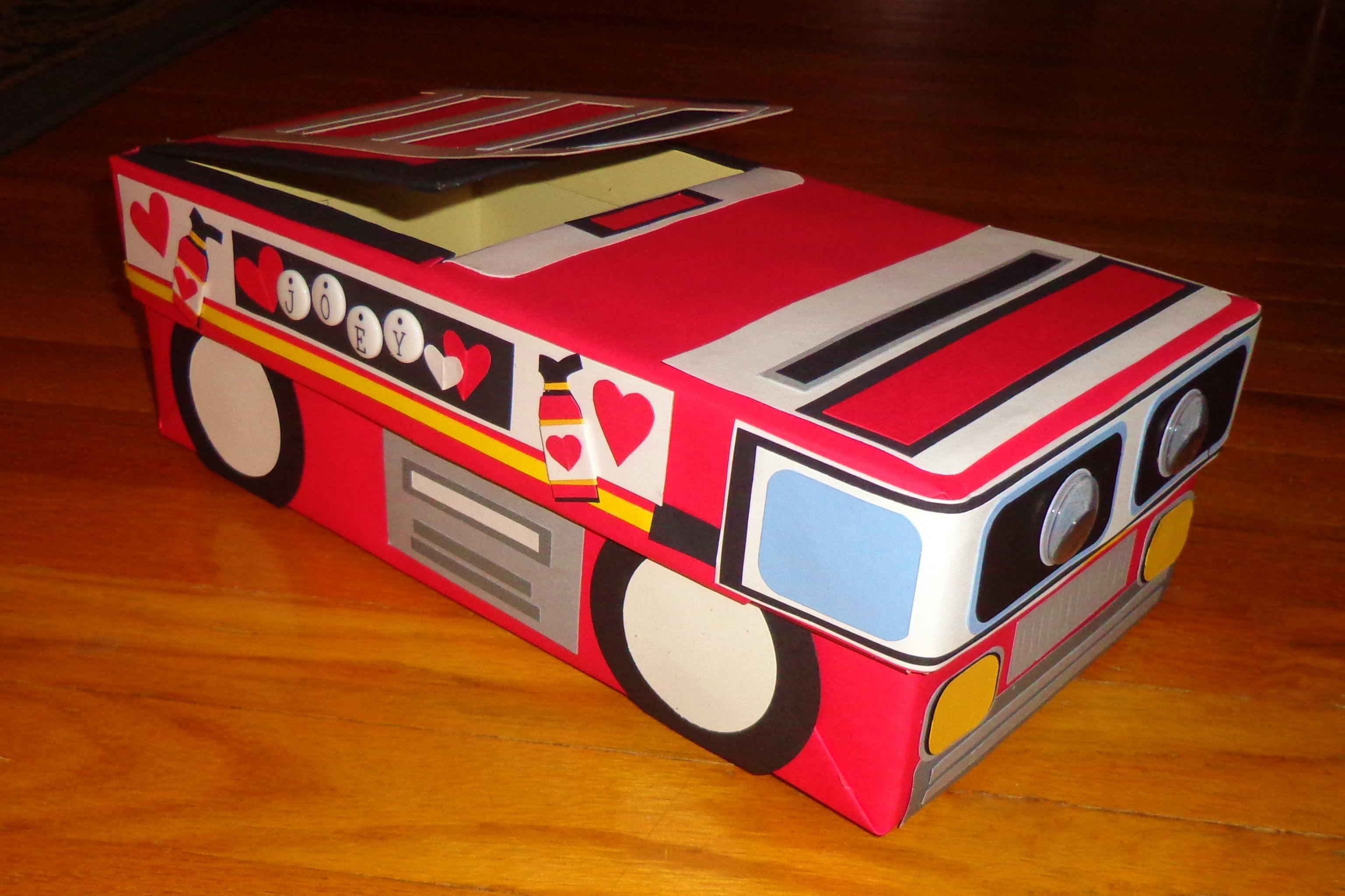 Ideas For Decorating Valentine Box Fire Truck Themed Valentine's Day Card Box  Made With A Shoe Box