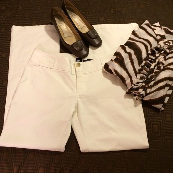 Winter White Slacks  PRICE DROP  EUC off white cotton and 2% spandex slacks.  Boot cut, bottom/zip fly, two button flap back pockets, two front pockets, belt loops. 30 inseam. GAP Pants Trousers #whiteslacks