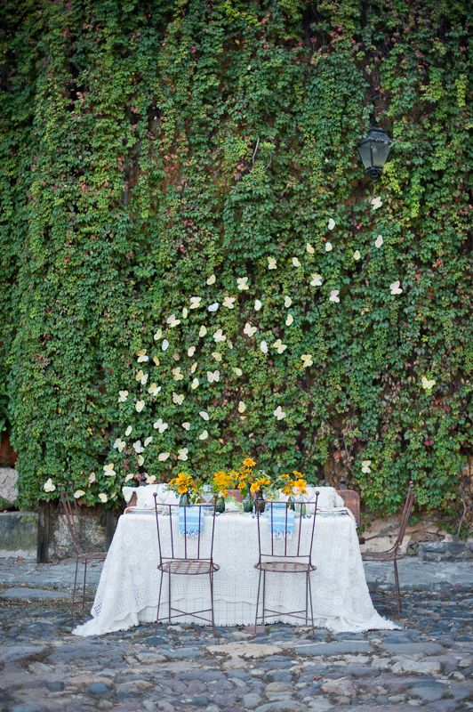 ivy-covered wall & table #camillestyles