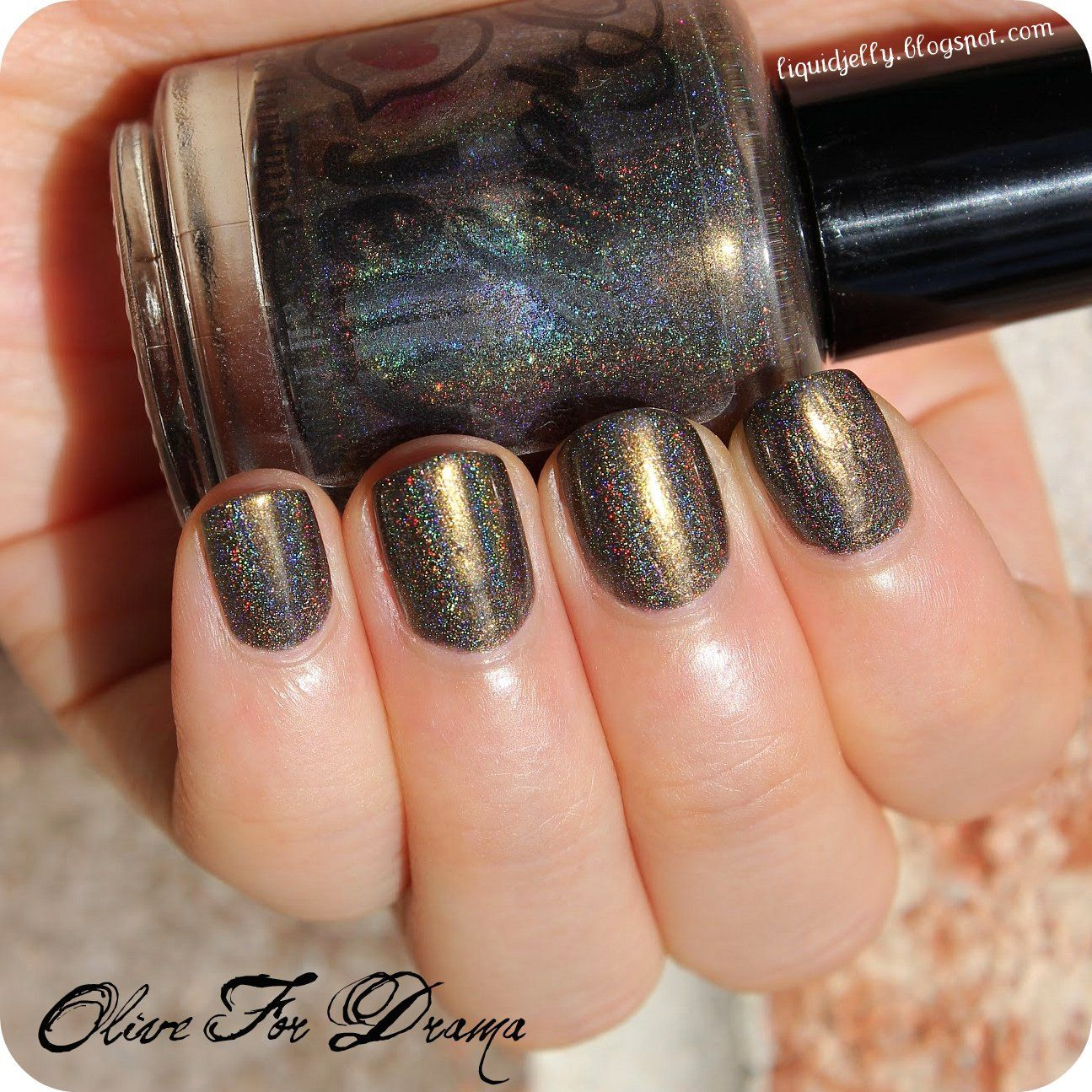 OLIVE FOR DRAMA 5ml Holographic Nail Polish: Custom Indie Lacquer ...