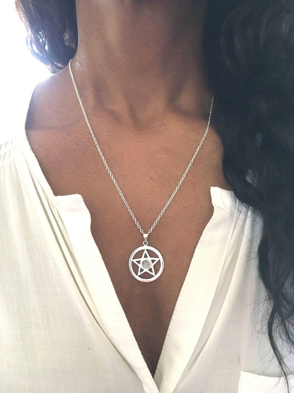 Pentagram necklace pentagram pendant silver pentacle necklace pentagram necklace pentagram pendant silver pentacle necklace pentacle pendant wiccan jewelry gift for her moonstone onyx aloadofball Images