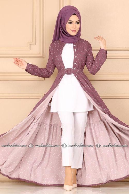 Modaselvim Ferace Kemerli Elbise Ferace 9434w153 Gul Kurusu Long Dress Design Muslimah Dress Fashion Dresses