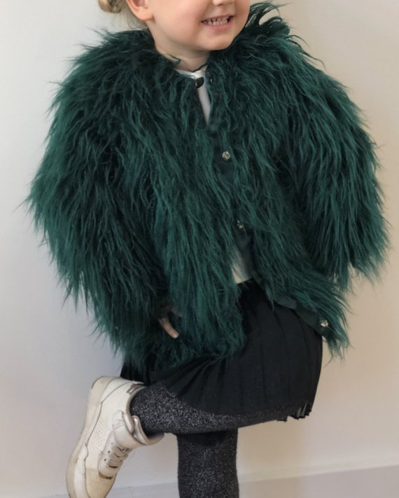 5dbaa72c8 Emerald kids faux fur jacket   Baby girl fluffy coat   Green shaggy ...