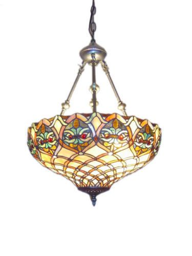 Hanging Ceiling Pendant Light Fixture stained Glass Mission Tiffany ...