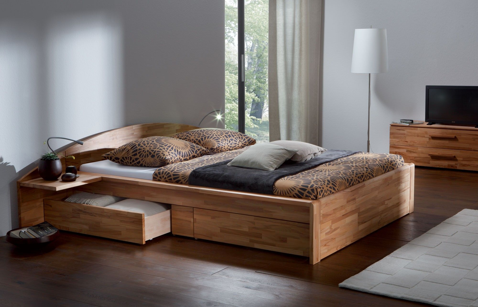 solidheartbeechnaturaloiledsolidwoodenbedjpeg ×  - un polish wooden bed with storage drawer added with media console and standlamp placed on wooden floor as well as mattress for platform bed andhardwood