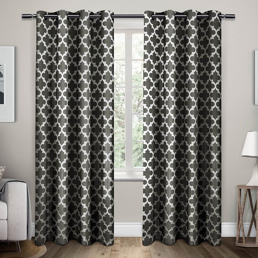 2 Piece Black Pearl Lattice Pattern Window Curtain Set 84 Inch