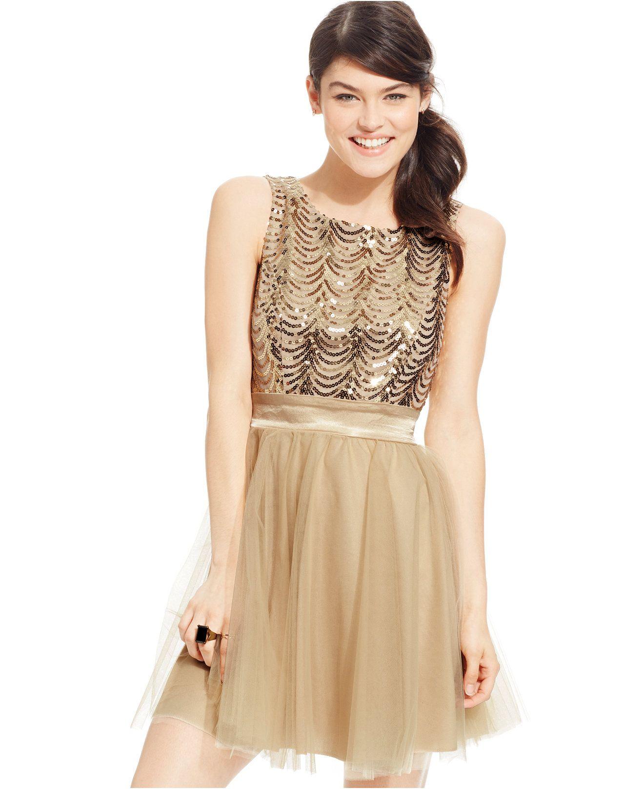 ea71c746697 Trixxi Juniors  Sequin Retro Party Dress - Juniors Dresses - Macy s ...