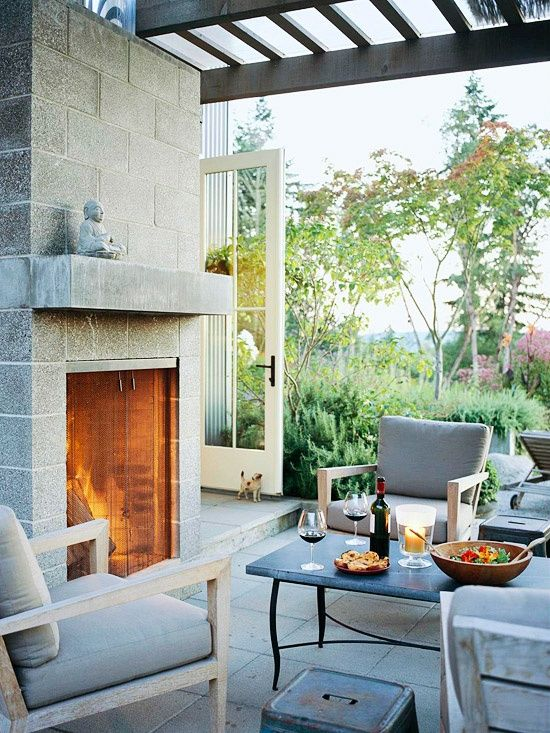 There's nothing quite like eating dinner next to a ... on Building Outdoor Fireplace With Cinder Block  id=85208
