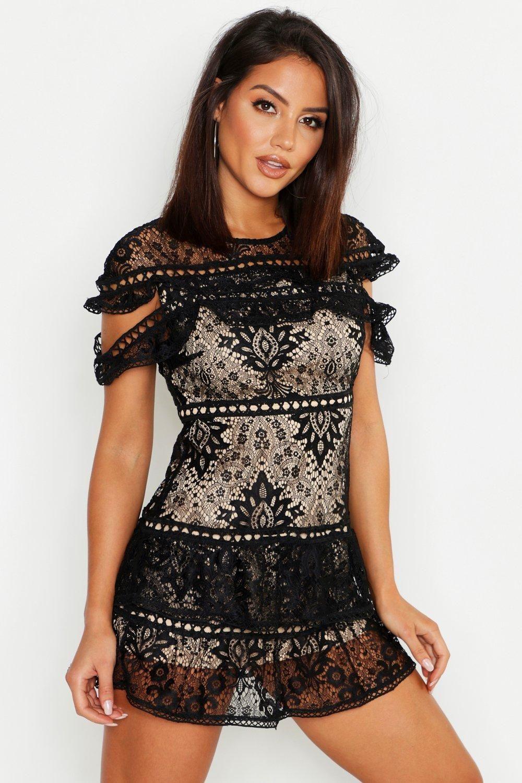 Sexy Womens Black Lace Nude Mini Dress Wholesale