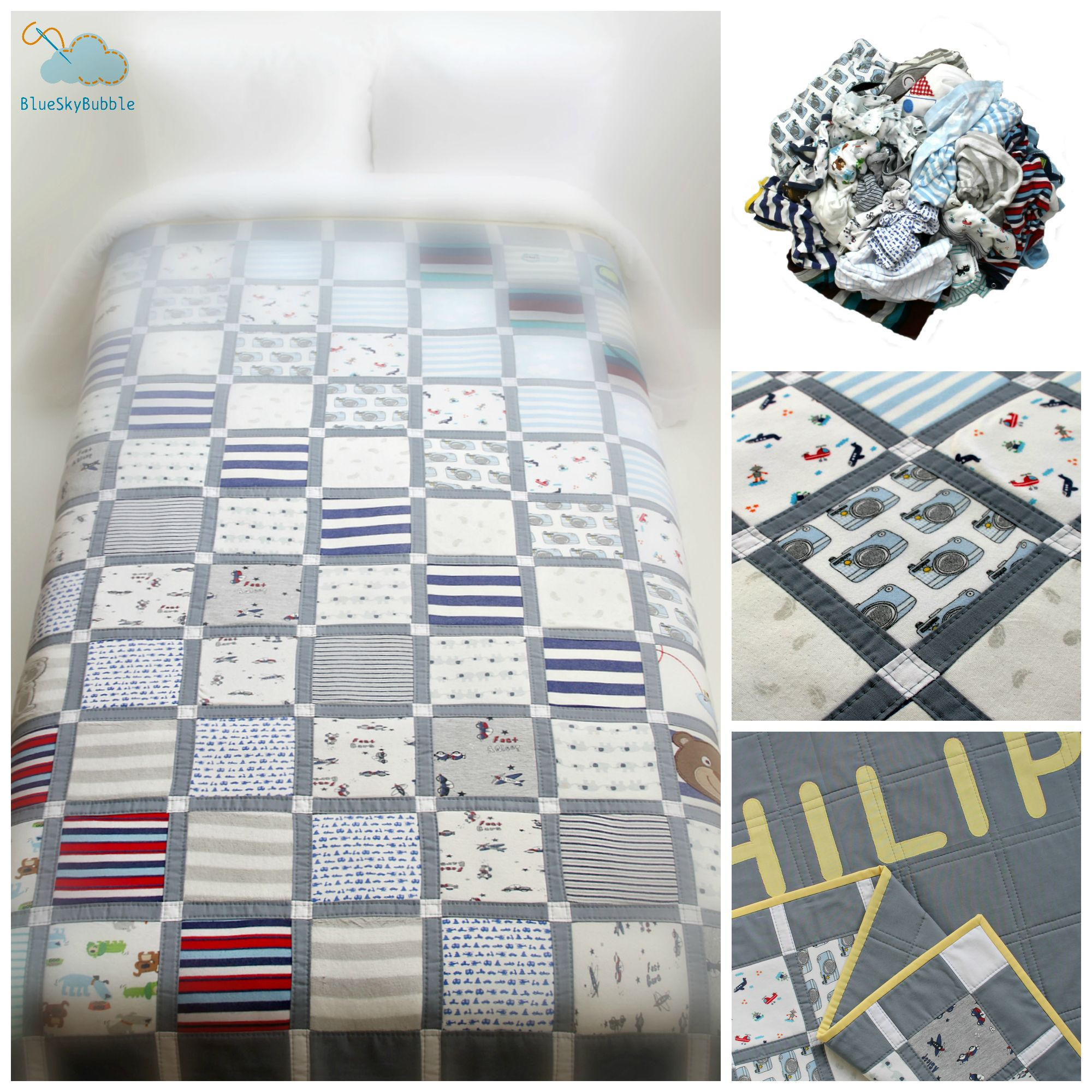 Memory Quilt By Blue Sky Bubble Atelier Quilts Hand Crafted Sprei
