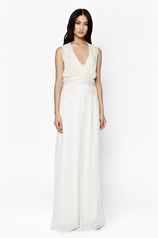 French Connection - Broadway Lights Embellished Maxi Dress.  Empire line with sheer overlay and dusting of beads, guaranteed to keep all eyes on you on your big day.