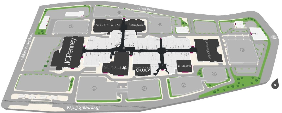 Fashion Valley Shopping Plan California Ca California San Diego